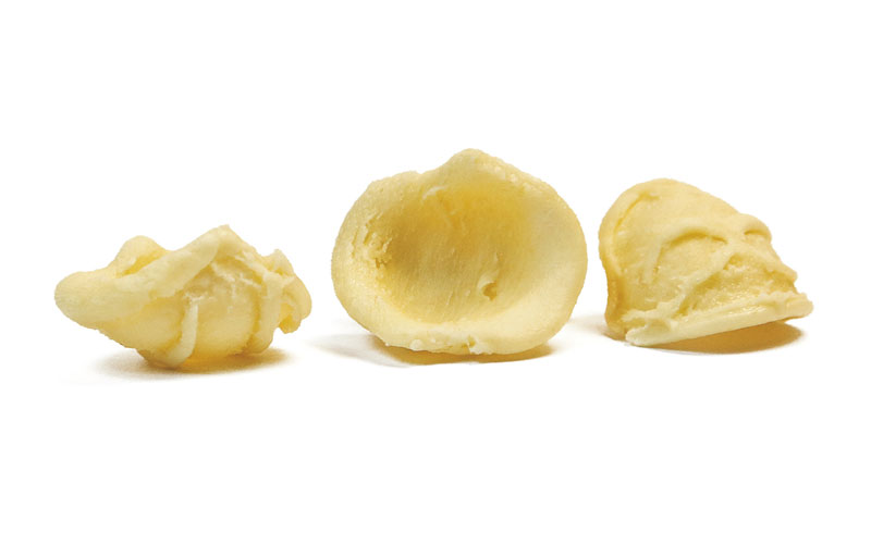 Orecchiette: fresh pasta, typical of Puglia, the shape is approximately that of small ears.